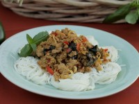 Archie's Acres: Soba Noodles with Turkey dressed with Madras curry and perfumed with Italian Basil